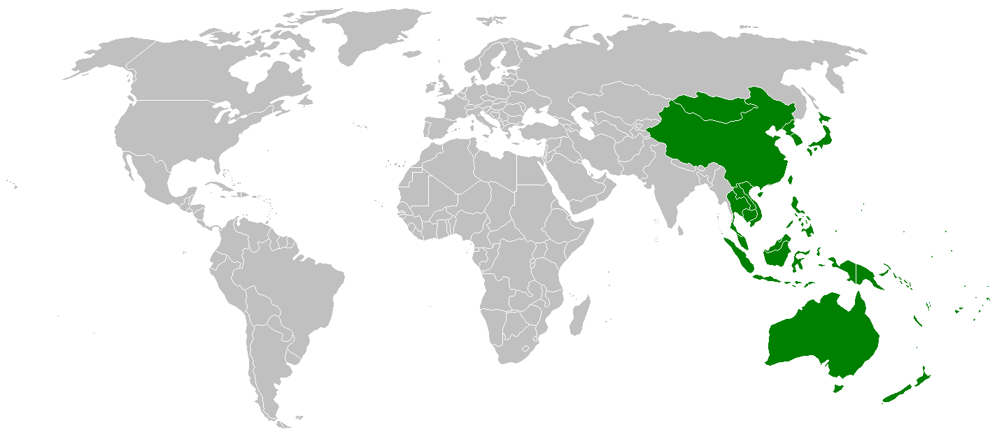 Location of East Asia and Pacific Rim